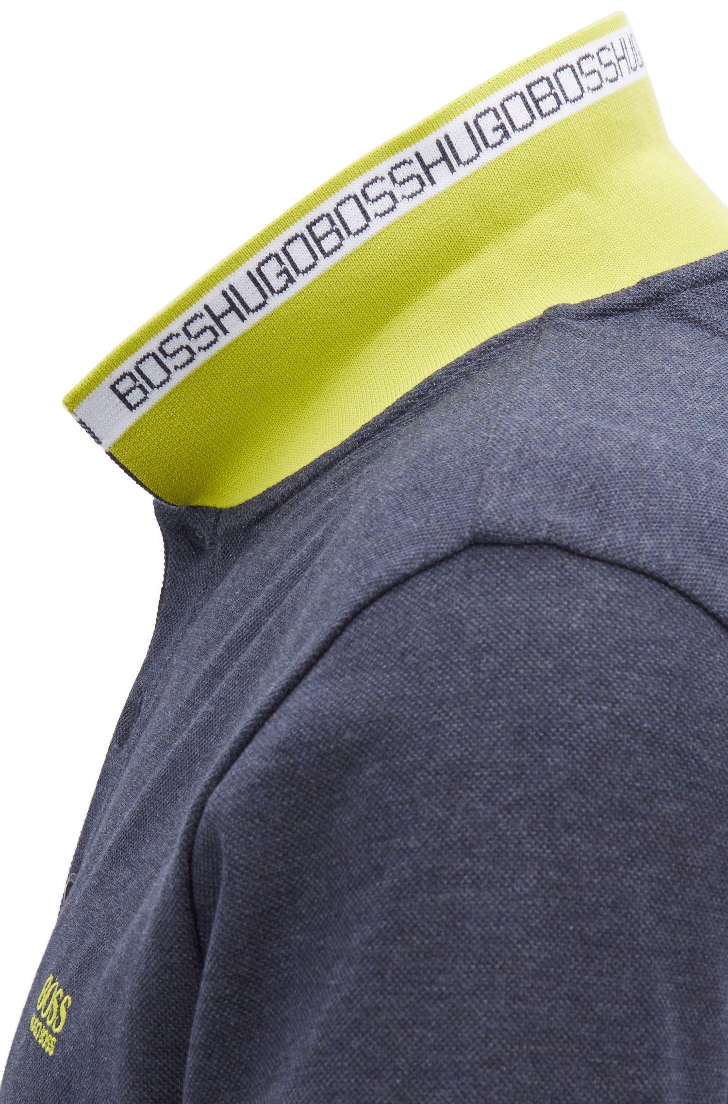 Polo van katoenpiqué met logo aan de onderkant van de kraag, Donkerblauw