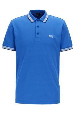 Poloshirt aus Baumwoll-Piqué mit Logo an der Kragenunterseite, Blau