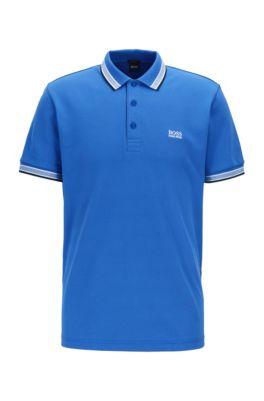 Polo en piqué de coton, avec logo au niveau du sous-col, Bleu