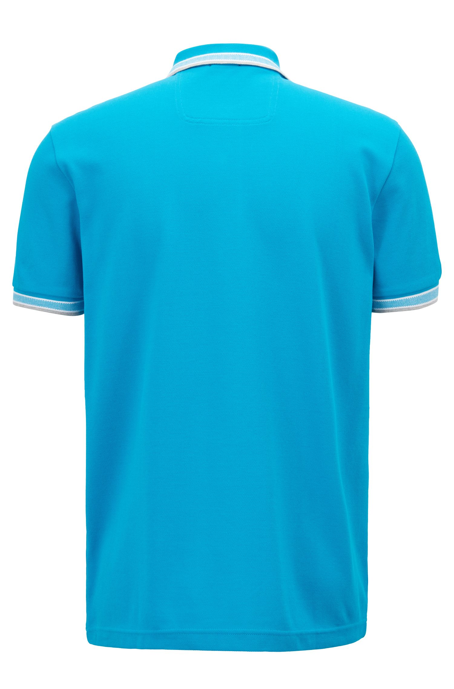 Cotton-piqué polo shirt with logo undercollar, Blue