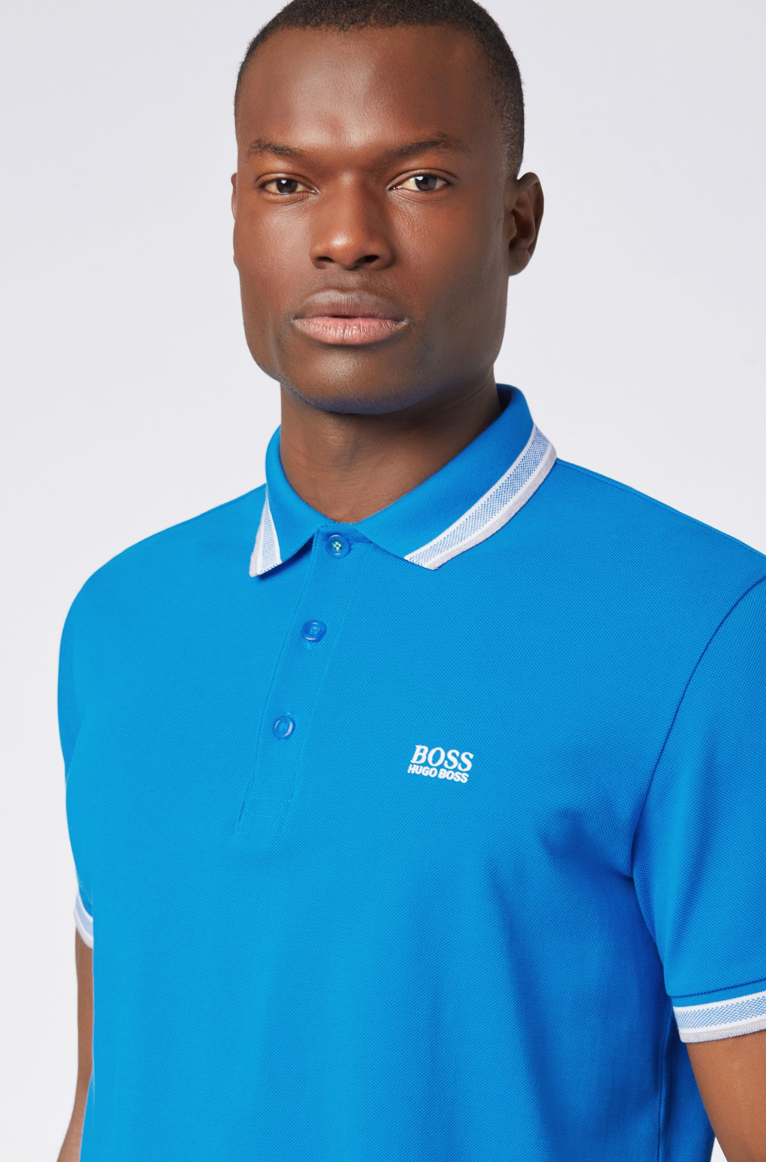 Cotton-piqué polo shirt with logo undercollar, Blue