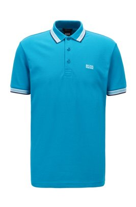 Cotton-piqué polo shirt with logo undercollar, Turquoise