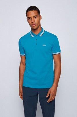 Cotton-piqué polo shirt with logo undercollar, Turquoise