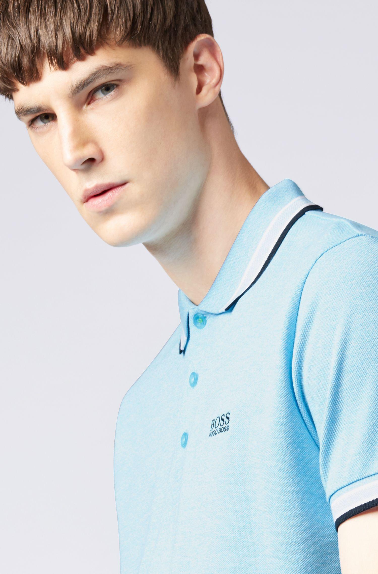 Poloshirt aus Baumwoll-Piqué mit Logo an der Kragenunterseite, Türkis