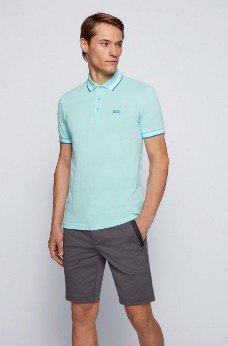 Polo en piqué de coton, avec logo au niveau du sous-col, Turquoise