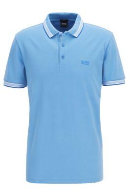 Poloshirt aus Baumwoll-Piqué mit Logo an der Kragenunterseite, Hellblau