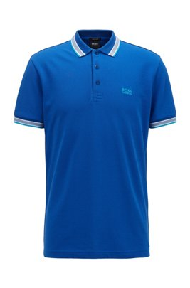 Cotton-piqué polo shirt with logo undercollar, Light Blue