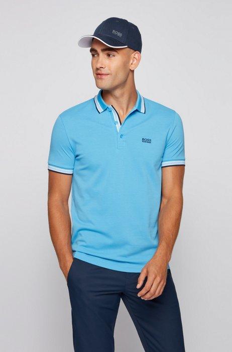 Cotton-piqué polo shirt with logo undercollar, Light Blue