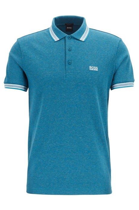Cotton-piqué polo shirt with logo undercollar, Open Blue