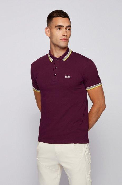 Cotton-piqué polo shirt with logo undercollar, Purple
