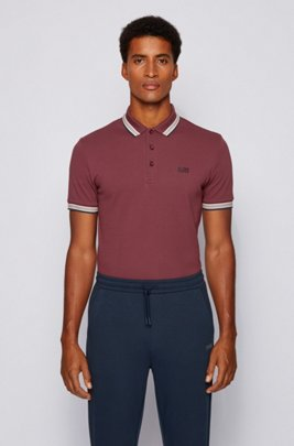 Cotton-piqué polo shirt with logo undercollar, Dark Red