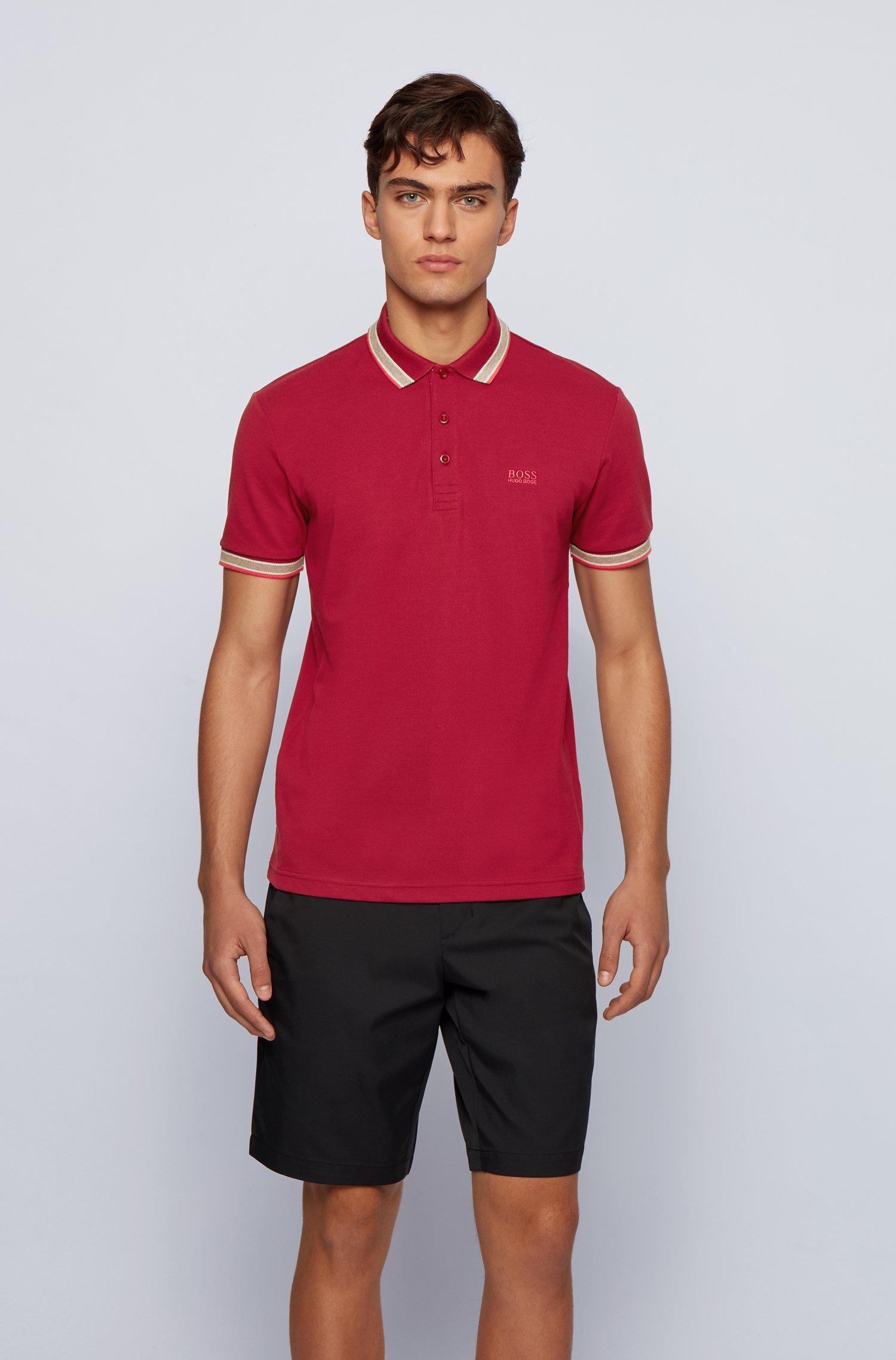 Poloshirt aus Baumwoll-Piqué mit Logo an der Kragenunterseite, Dunkelrot