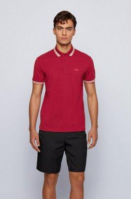 Cotton-piqué polo shirt with logo undercollar, Dark Red