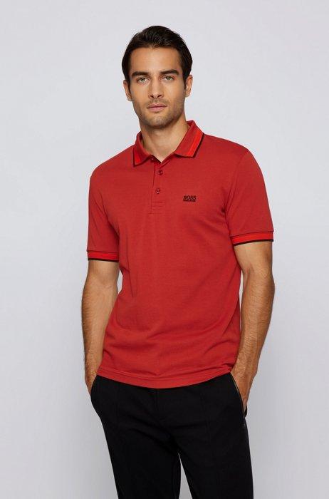 Cotton-piqué polo shirt with logo undercollar, Red