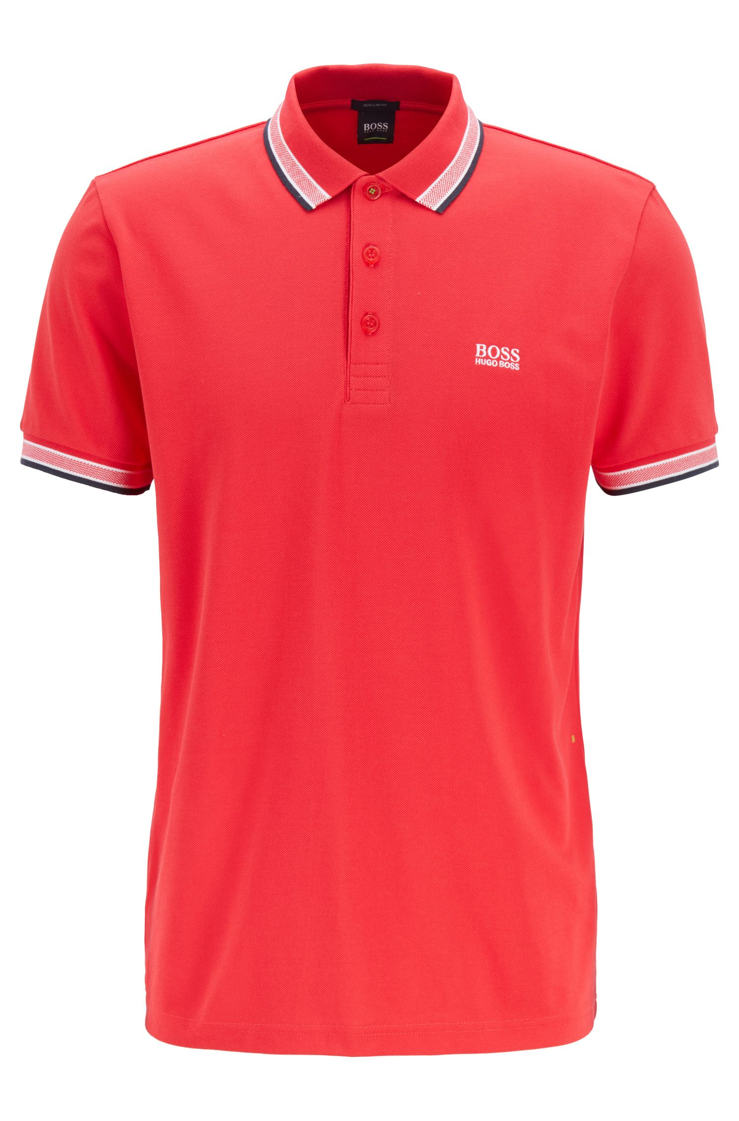 Cotton-piqué polo shirt with logo undercollar, Red
