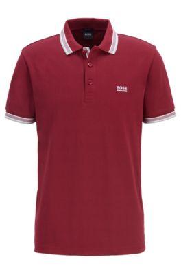 Polo en piqué de coton, avec logo au niveau du sous-col, Rose foncé
