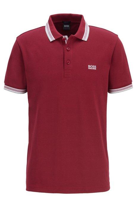 Cotton-piqué polo shirt with logo undercollar, Dark pink
