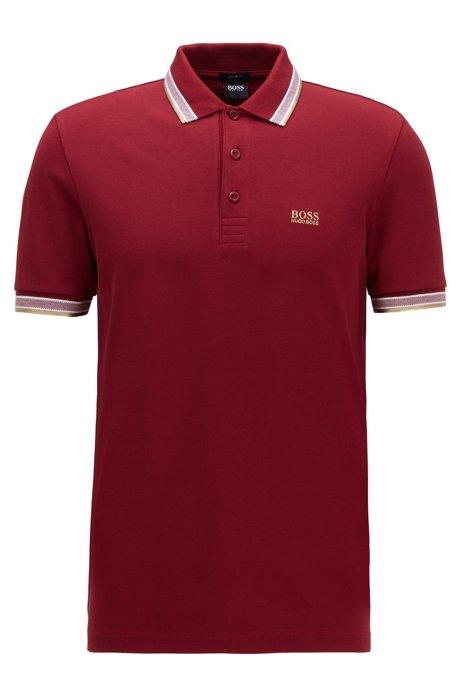 Polo en piqué de coton, avec logo au niveau du sous-col, Rouge