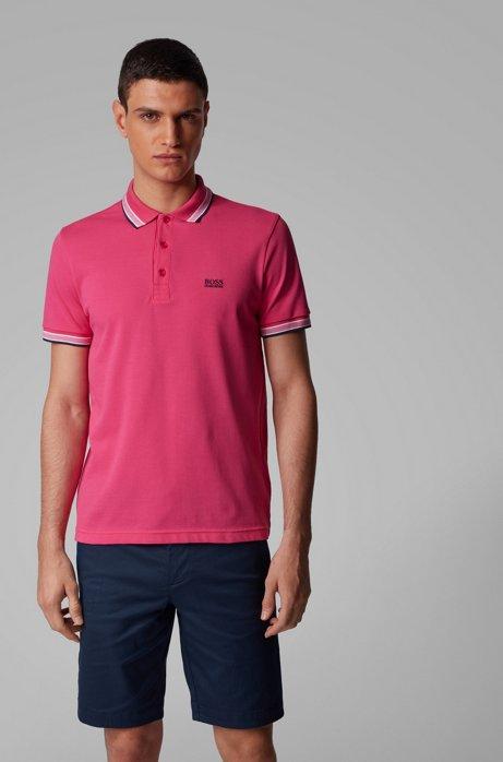 Poloshirt aus Baumwoll-Piqué mit Logo an der Kragenunterseite, Pink