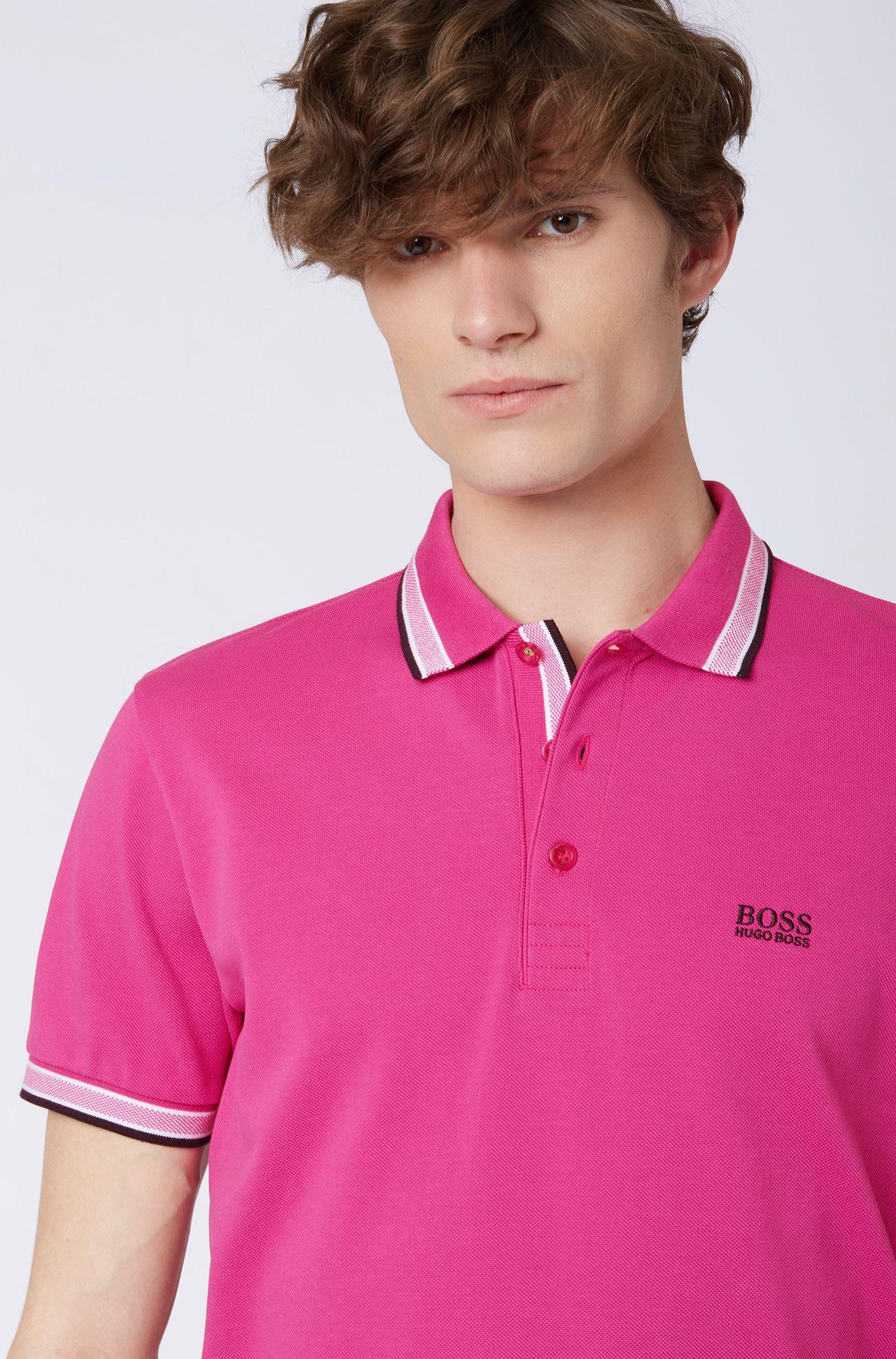 Polo en piqué de coton, avec logo au niveau du sous-col, Rose