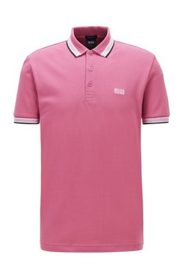 Cotton-piqué polo shirt with logo undercollar, Pink