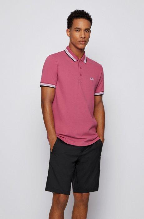 Cotton-piqué polo shirt with logo undercollar, Pink