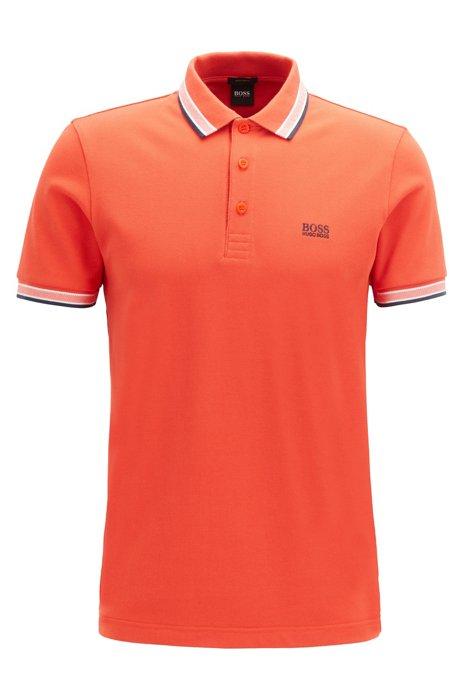 Polo en piqué de coton, avec logo au niveau du sous-col, Orange