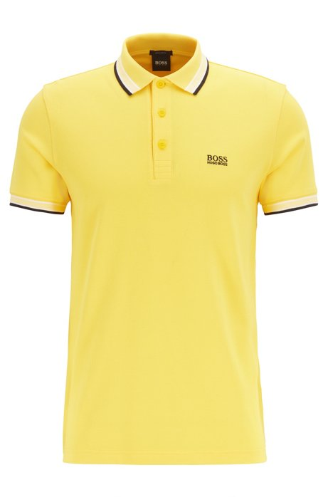 Cotton-piqué polo shirt with logo undercollar, Yellow