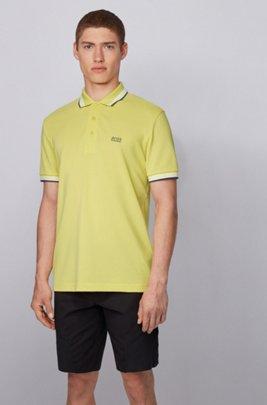 Cotton-piqué polo shirt with logo undercollar, Yellow
