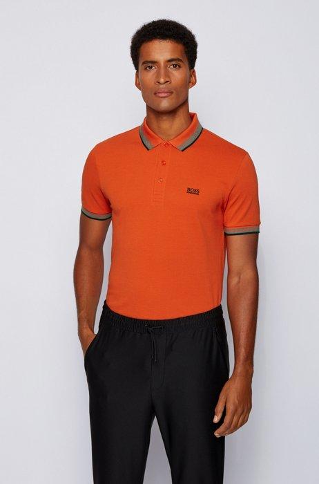 Cotton-piqué polo shirt with logo undercollar, Dark Orange