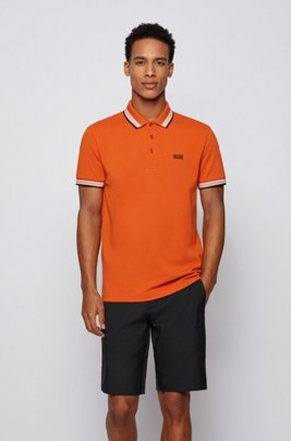 Cotton-piqué polo shirt with logo undercollar, Orange