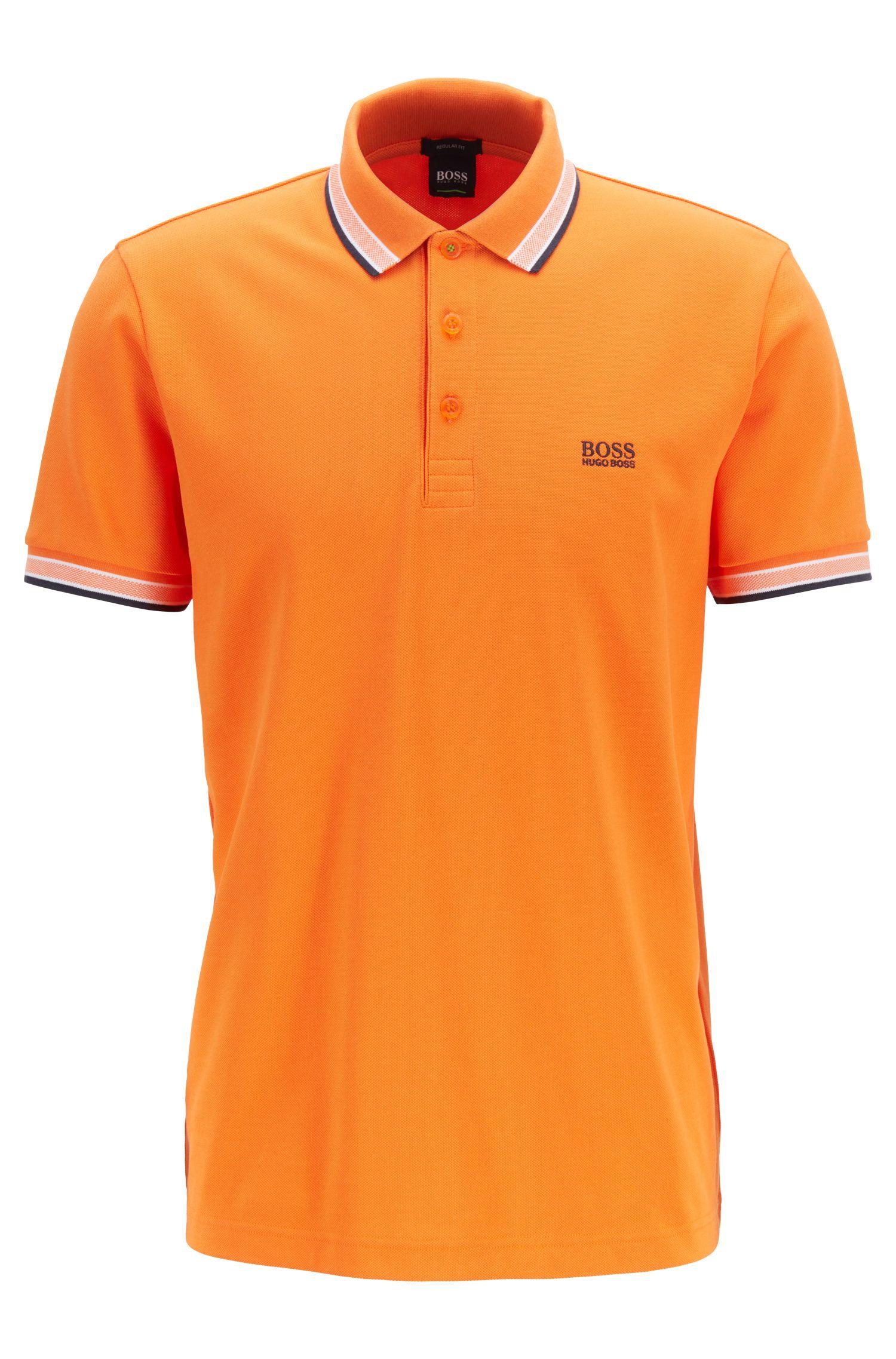 Poloshirt aus Baumwoll-Piqué mit Logo an der Kragenunterseite, Orange