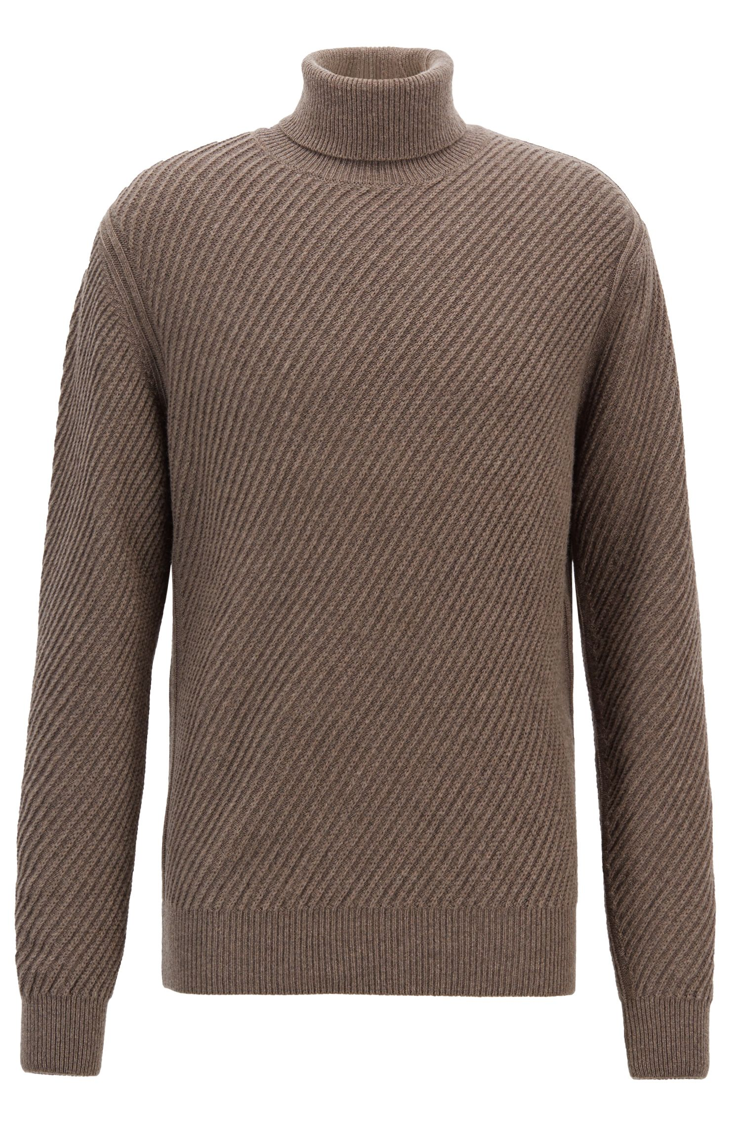 Turtleneck sweater in virgin-wool with silk and cashmere, Brown