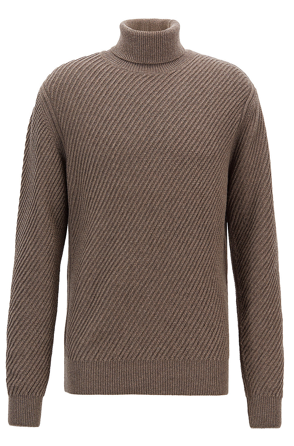 782f79045e76 BOSS - Pull à col cheminée en laine vierge à teneur en soie et cachemire
