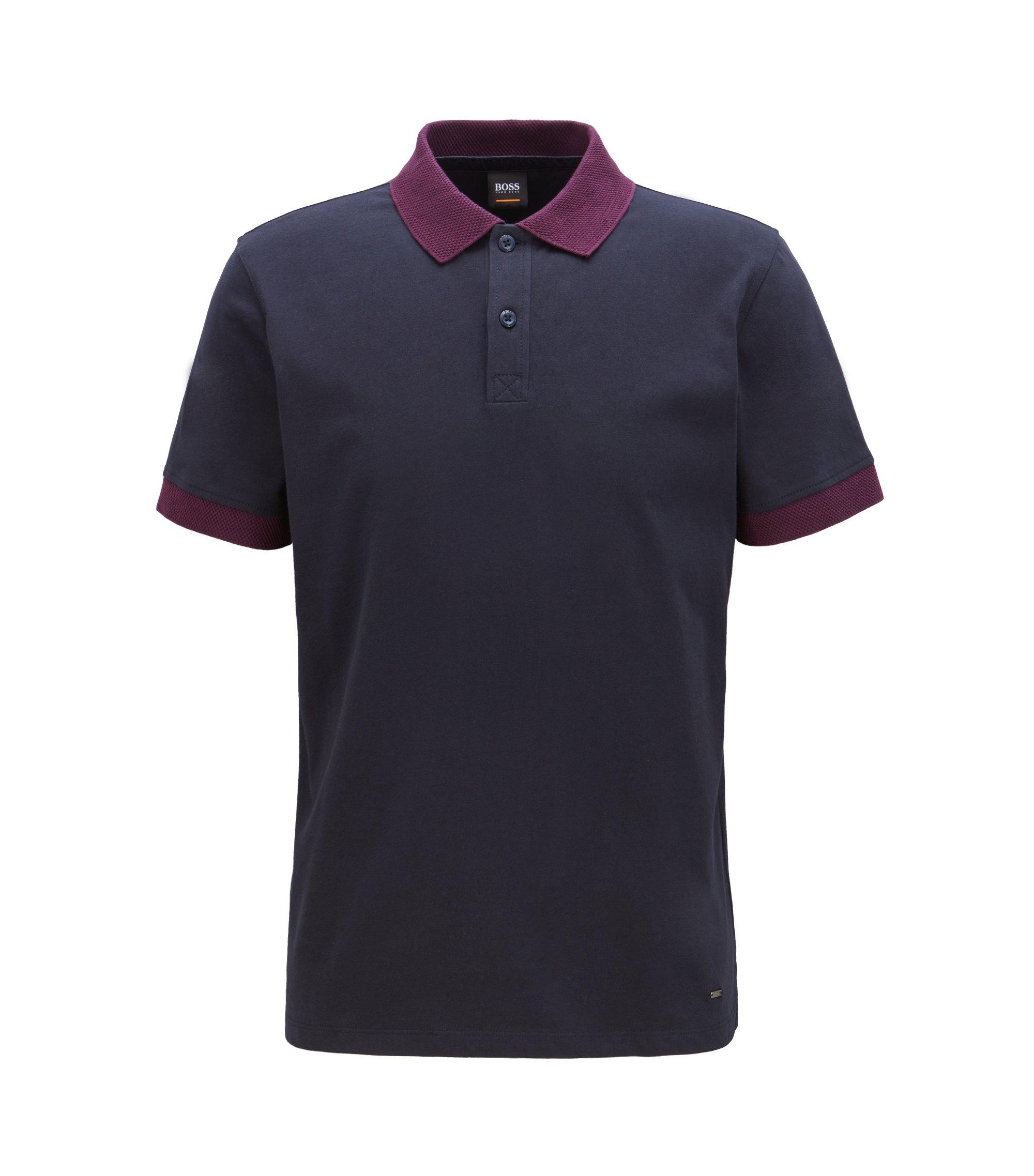 Polo Relaxed Fit en jersey avec détails en mesh contrastants, Bleu foncé