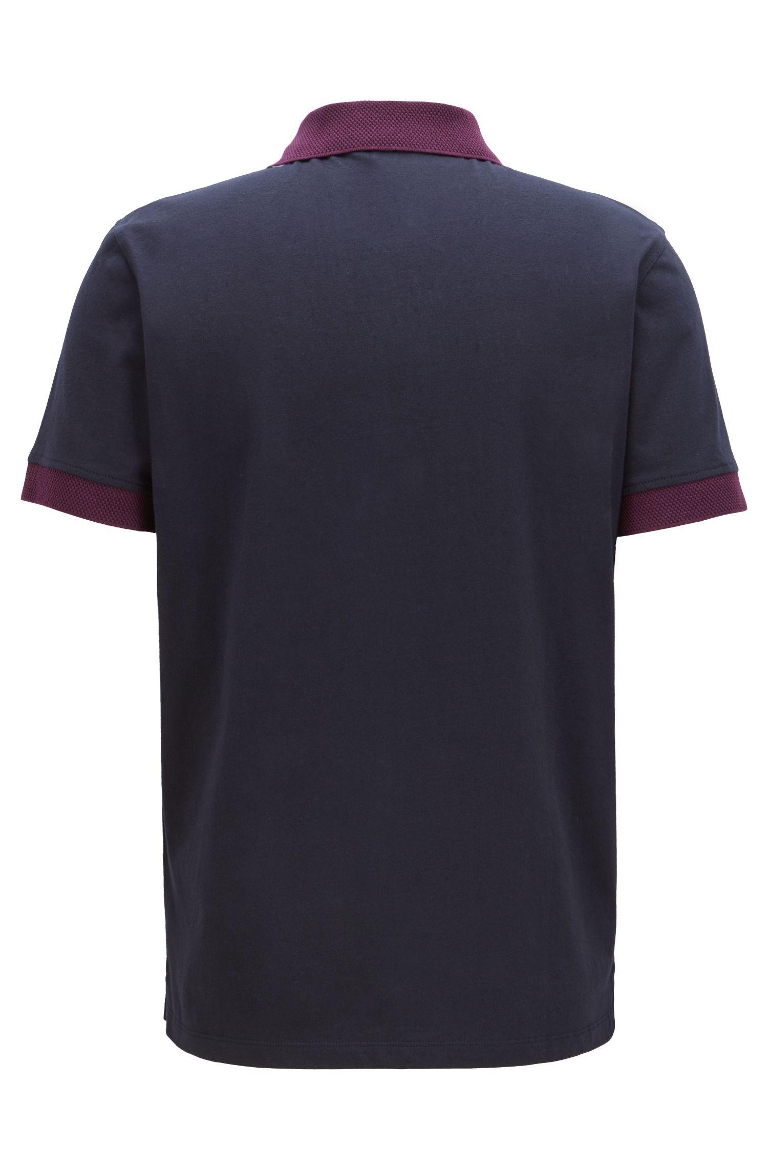 Polo in jersey relaxed fit con dettagli in rete a contrasto, Blu scuro