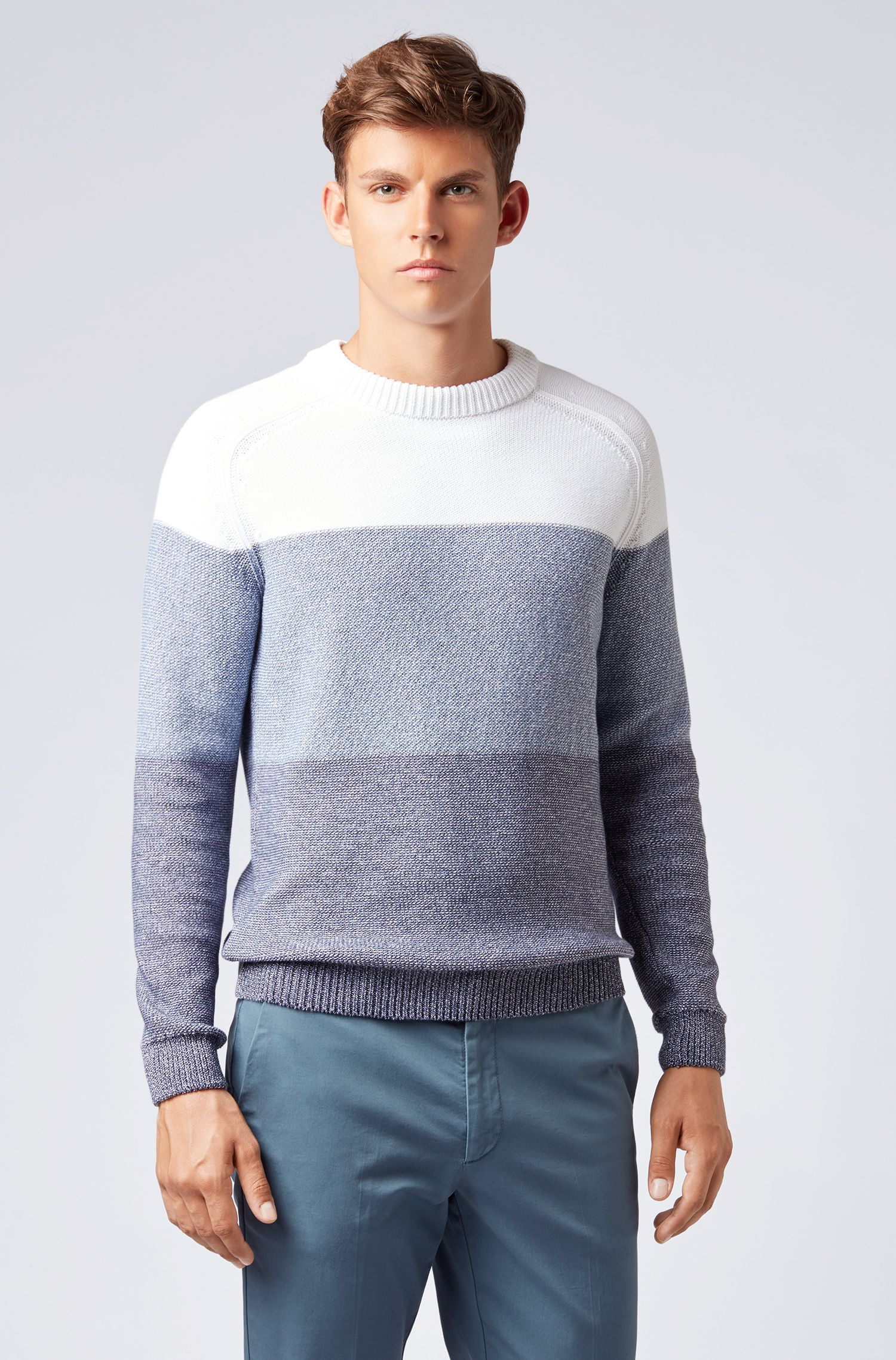 Crew-neck sweater in knitted colour-block cotton, Dark Blue