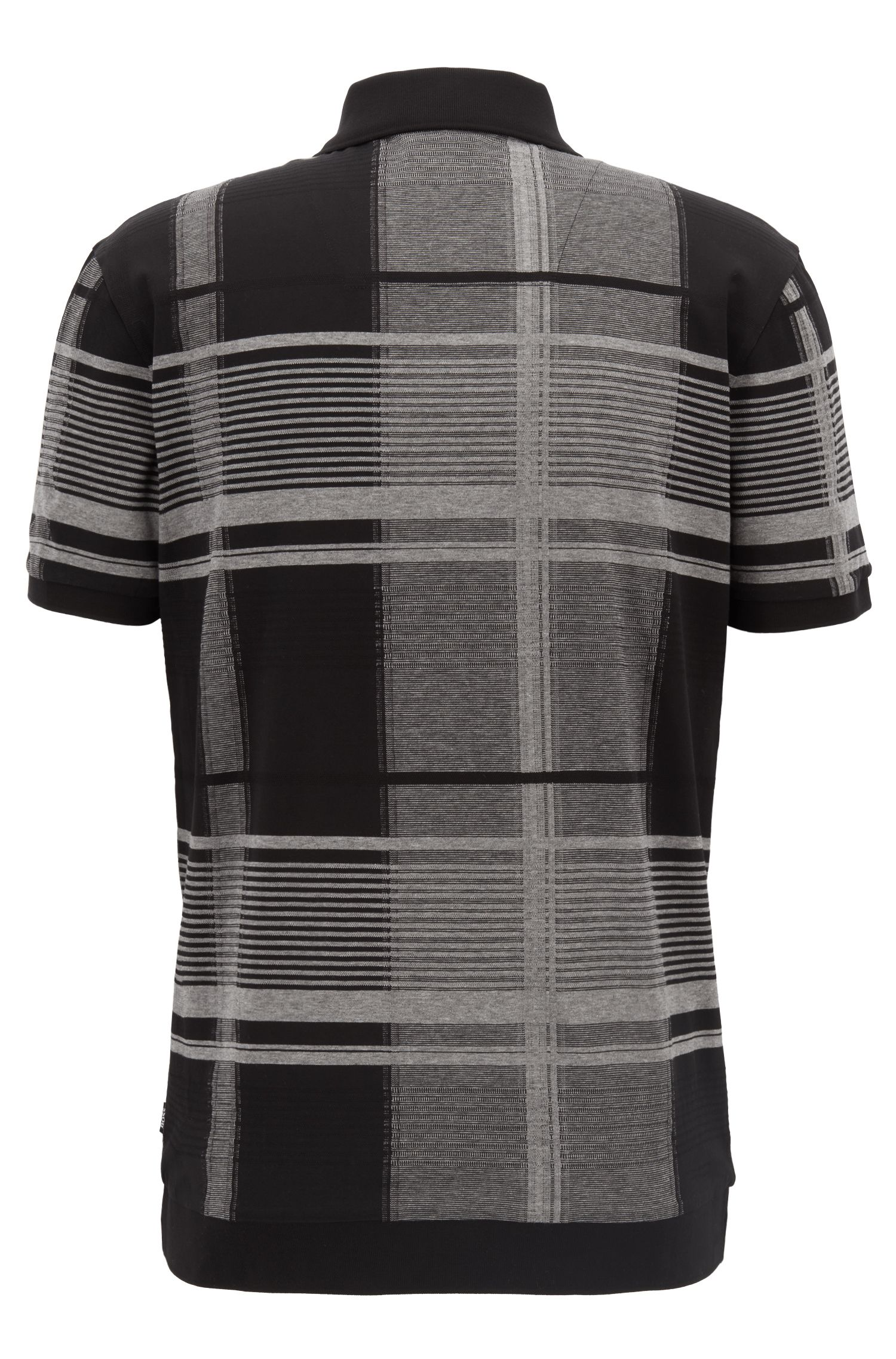 Windowpane check polo shirt in mercerised-cotton fil-coupé intarsia, Black
