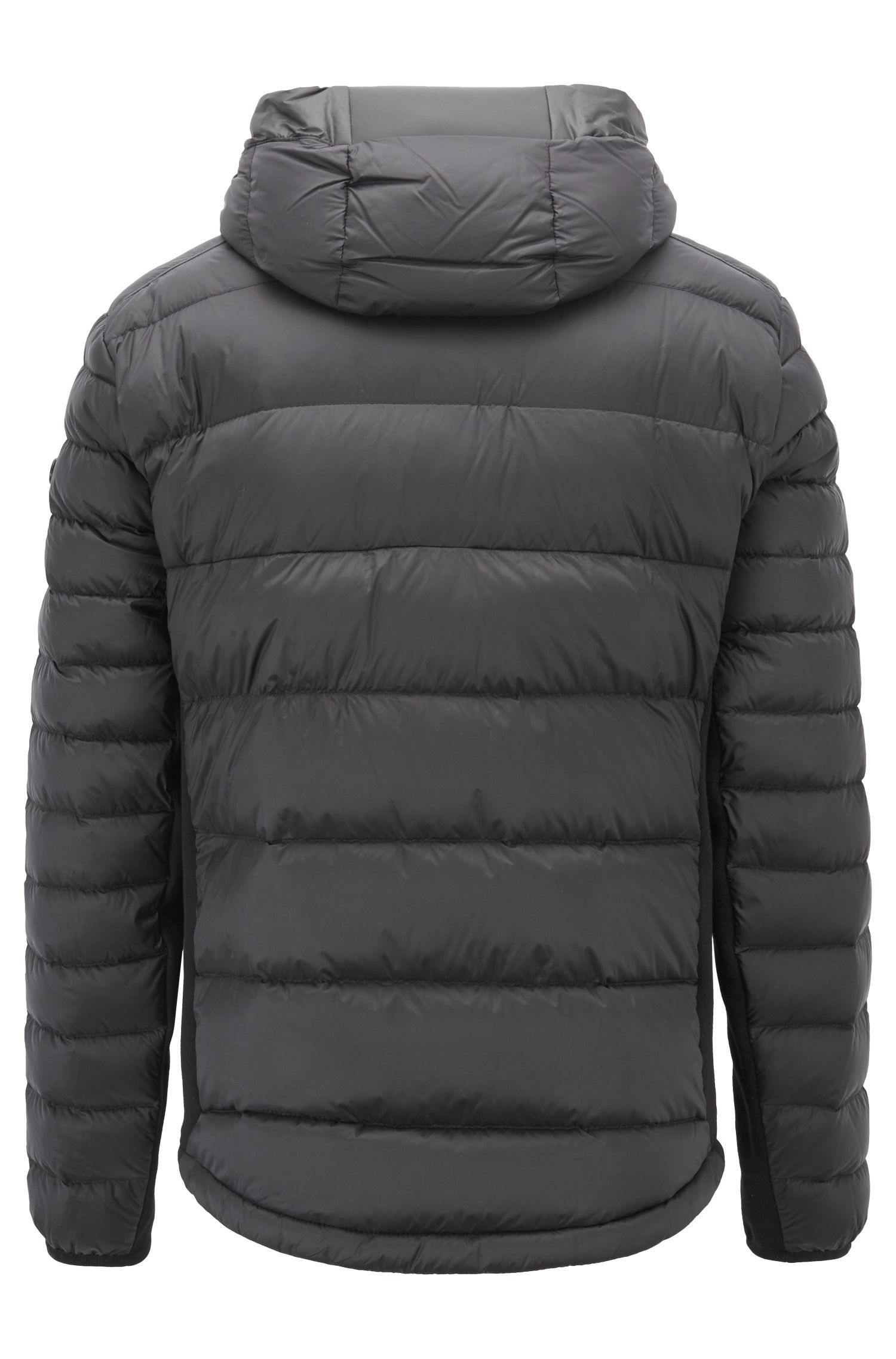 Link² down jacket in water-repellent taffeta with hood, Black