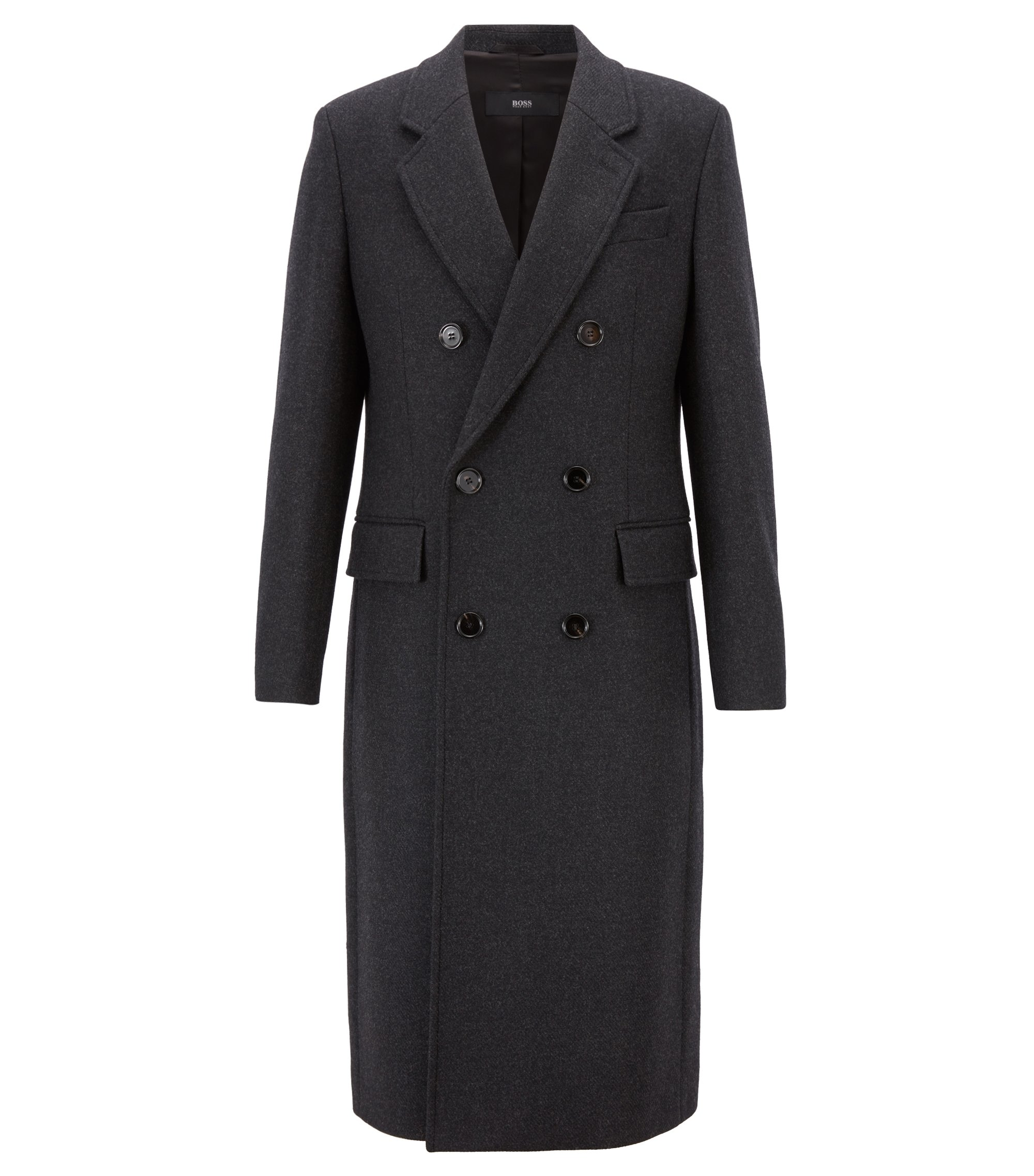 Fashion Show Capsule coat in melange virgin wool with cashmere, Dark Grey