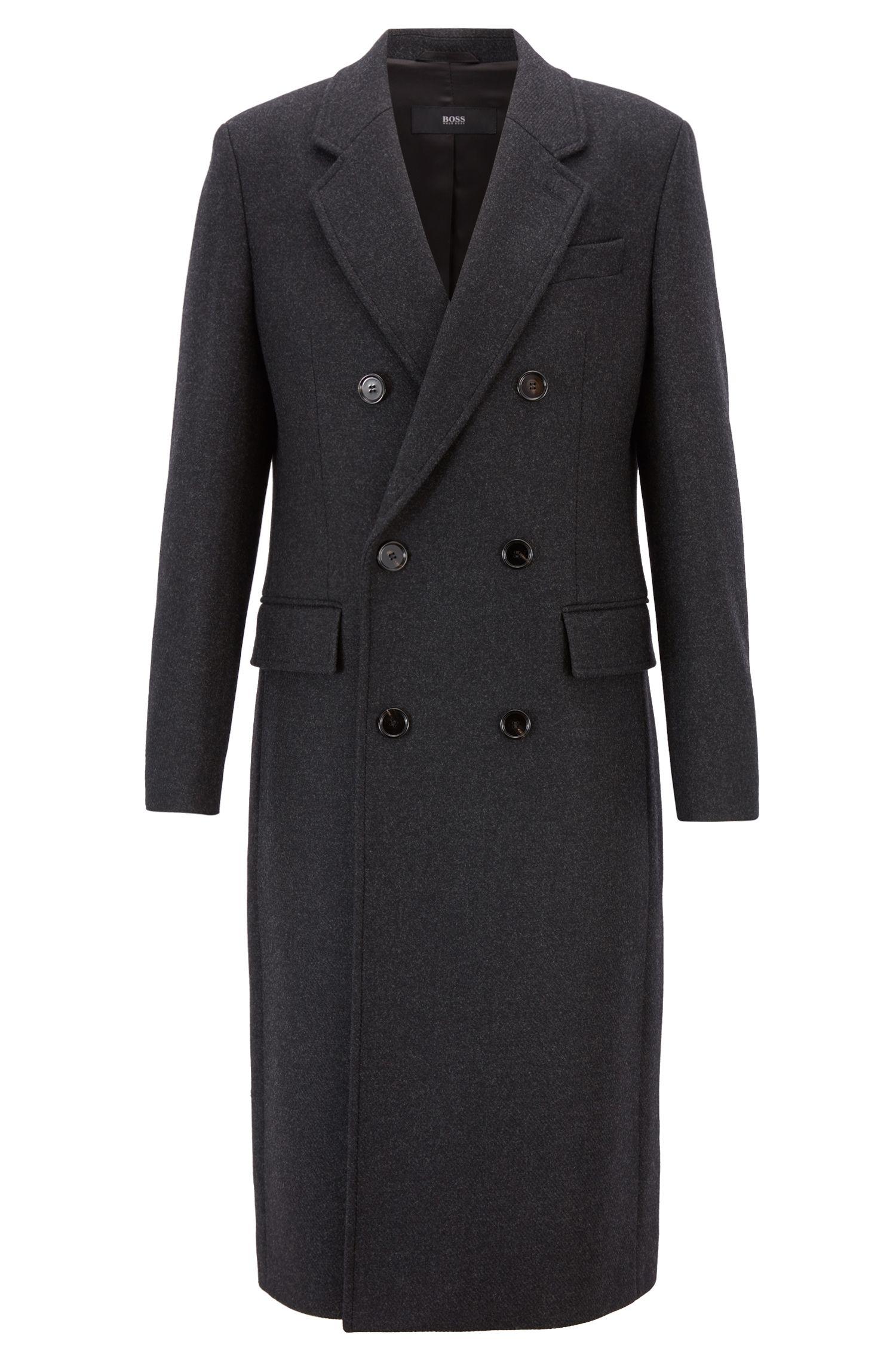 Abrigo de la cápsula Fashion Show en lana virgen jaspeada con cashmere, Gris oscuro