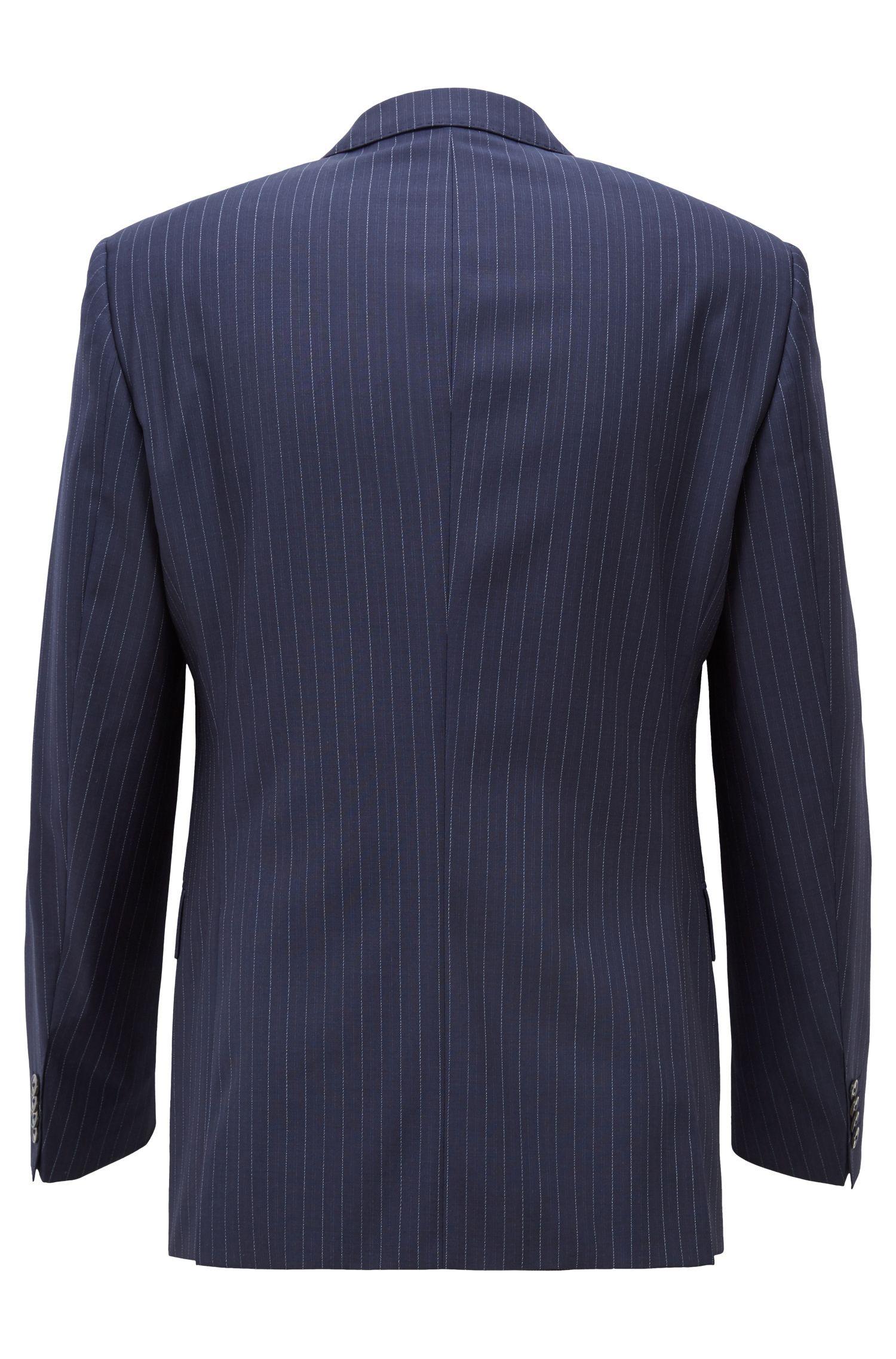 Traje slim fit en lana virgen con raya vertical