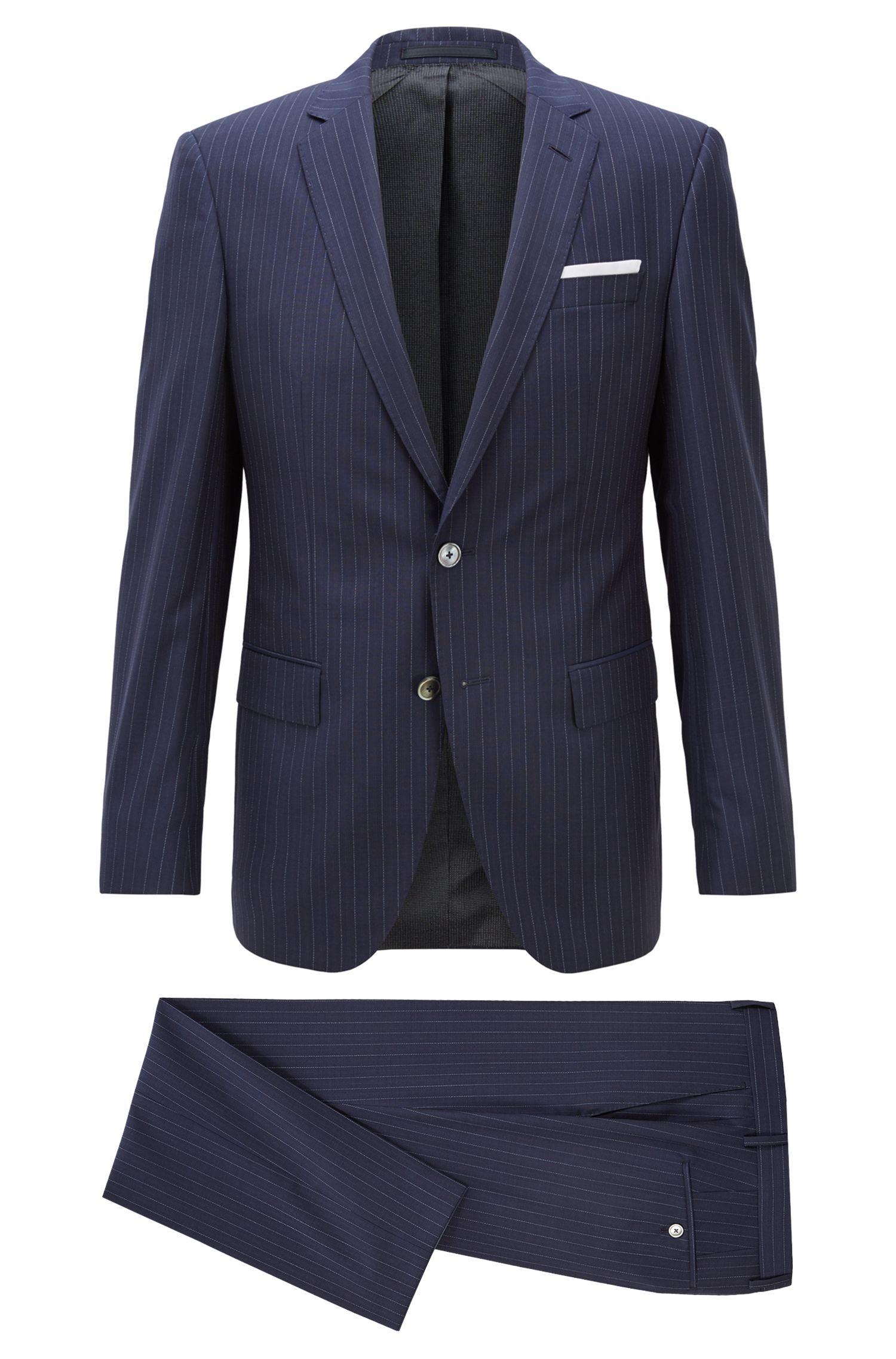 Slim-fit kostuum van scheerwol met verticale strepen, Donkerblauw