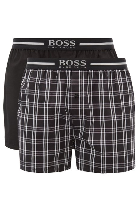 BOSS - Lot de deux shorts de pyjama en popeline de coton f256cae161f