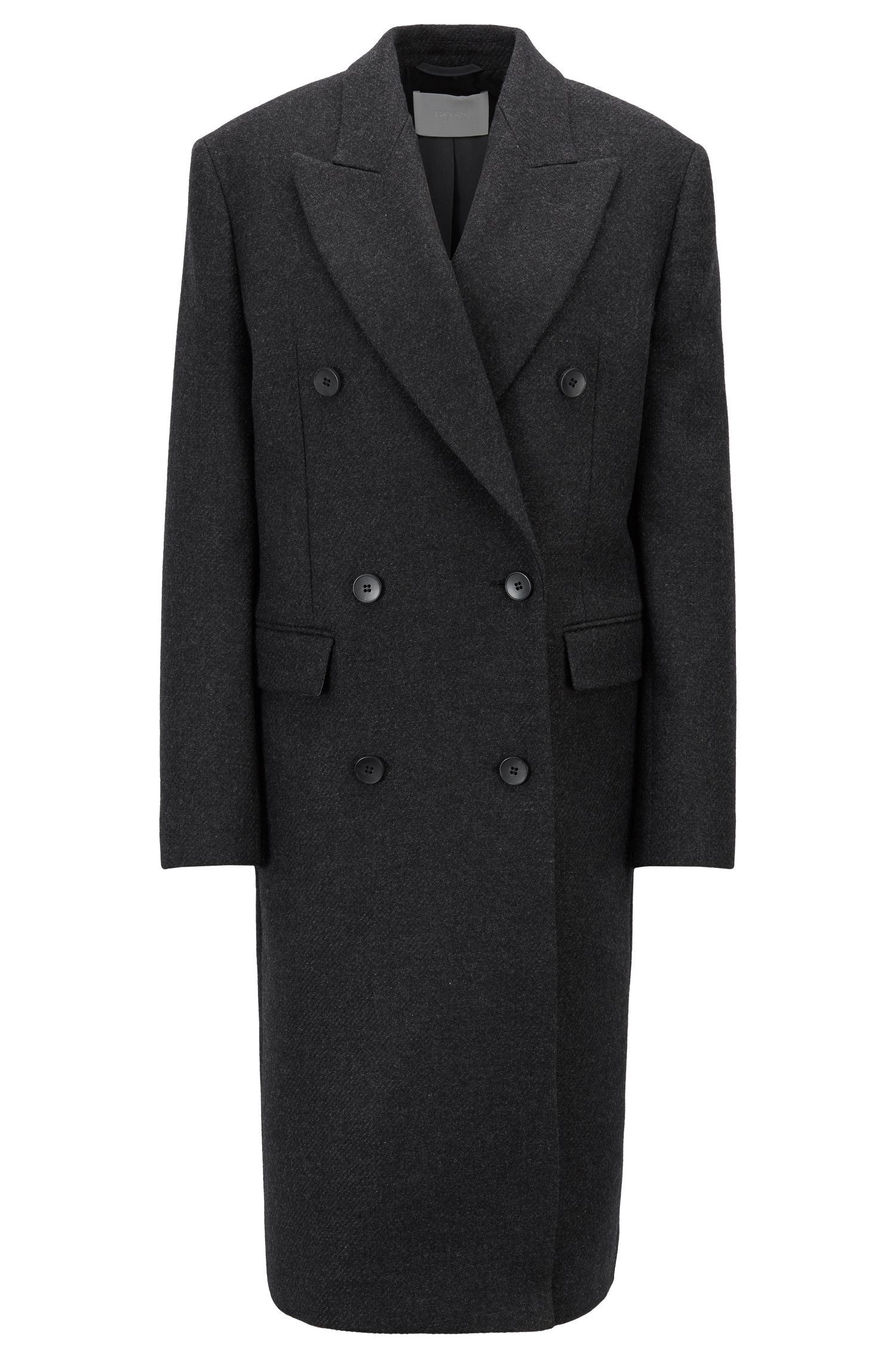 Double-breasted coat in an Italian wool blend, Black