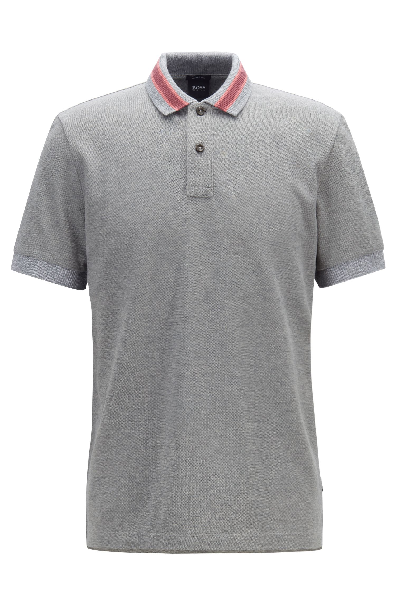 Regular-fit polo shirt in cotton with stripe details, Silver