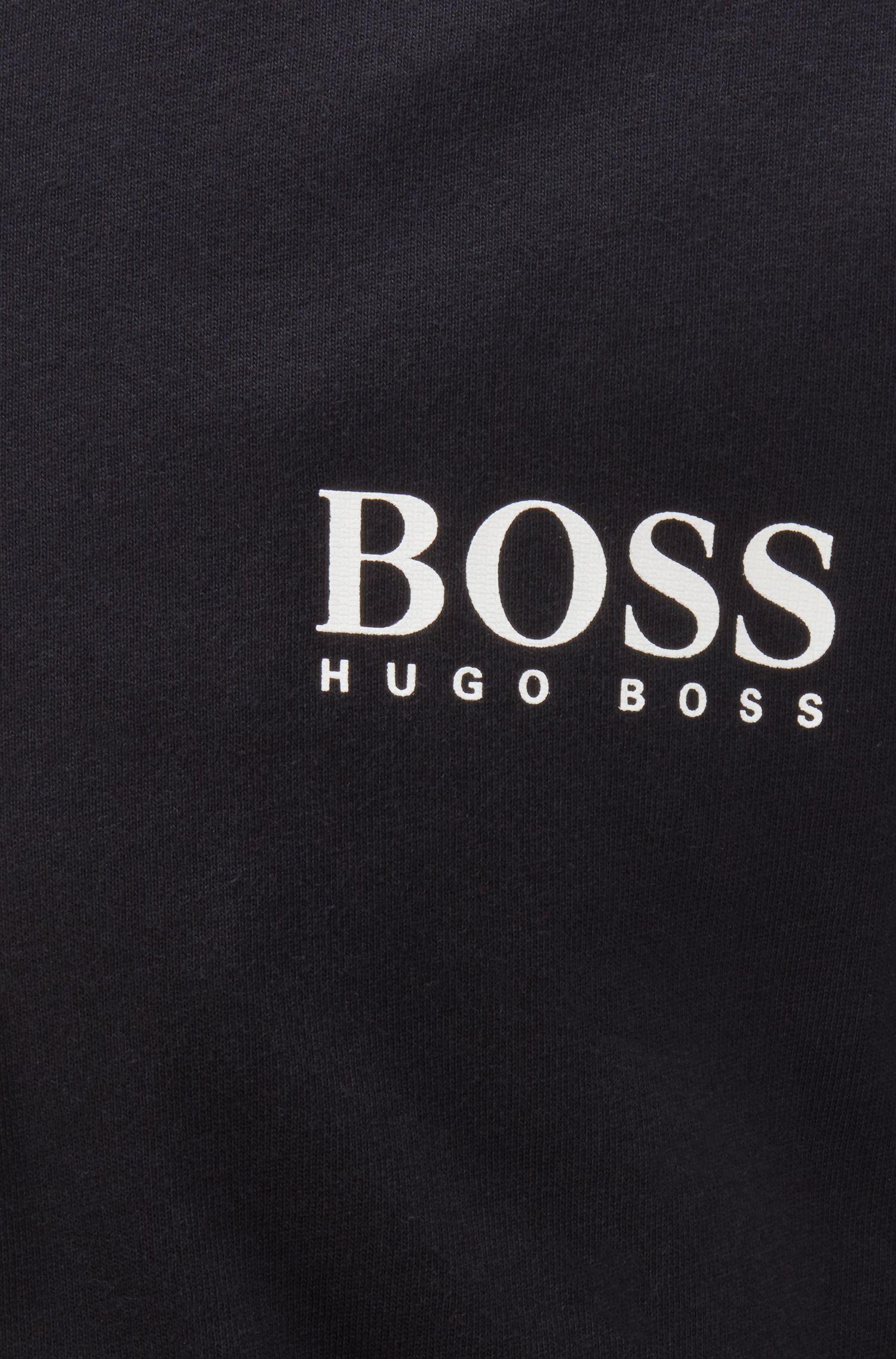 Chaqueta loungewear en punto pesado con cremallera bicolor, Negro