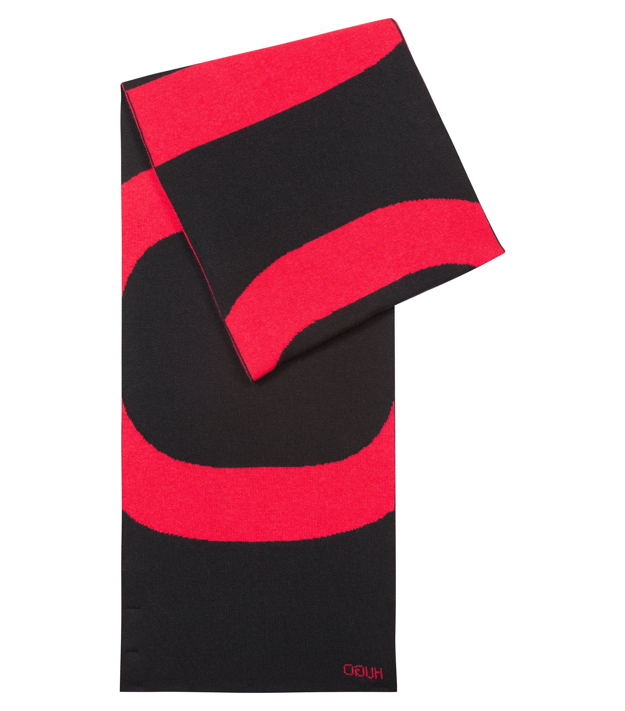 Écharpe en maille jacquard à logo inversé, avec du cachemire, Noir