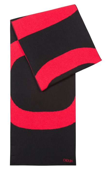 26bed548b1 HUGO - Reverse-logo scarf in knitted jacquard with cashmere