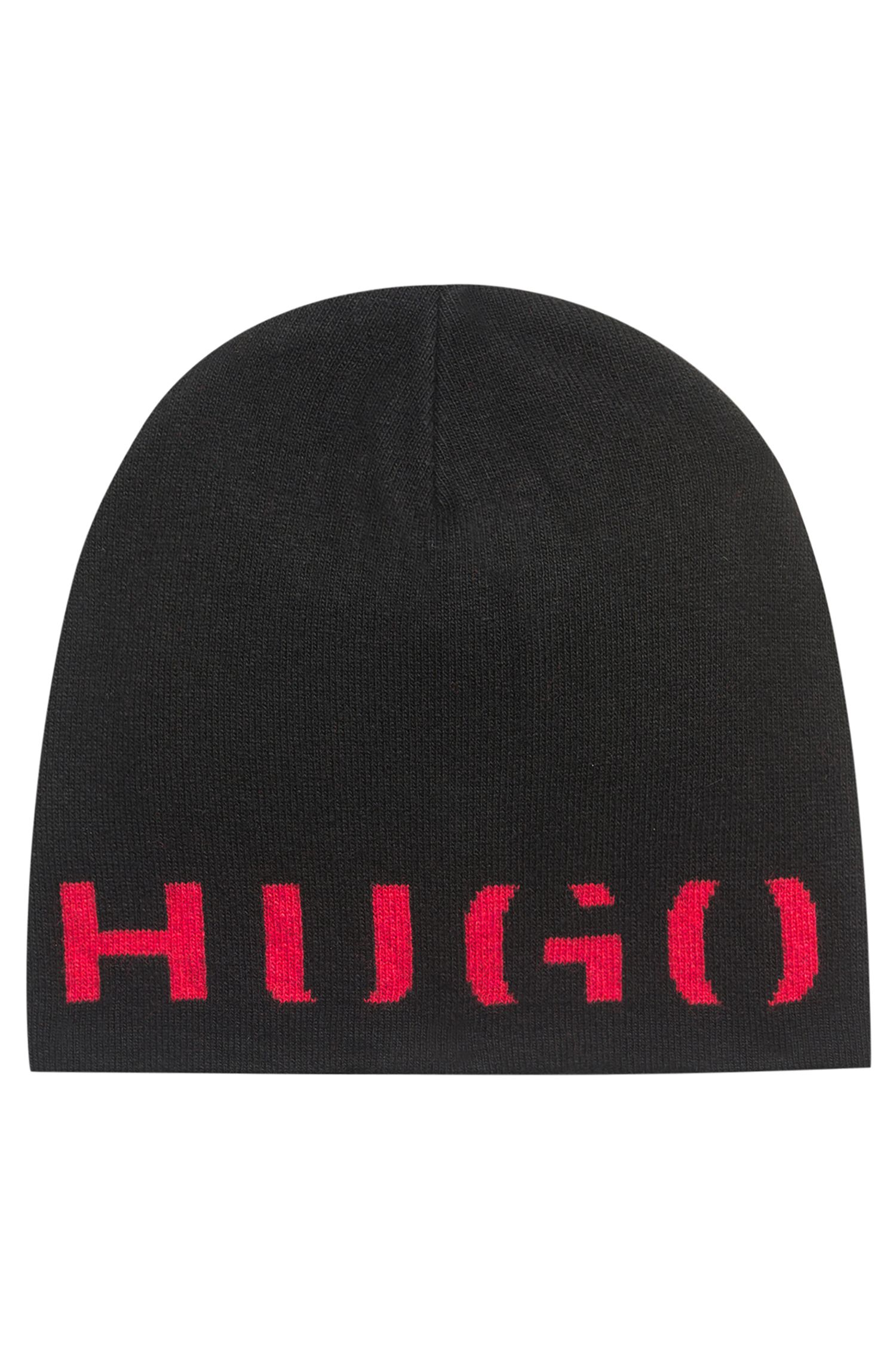 Logo beanie hat in a technical blend with cashmere, Black